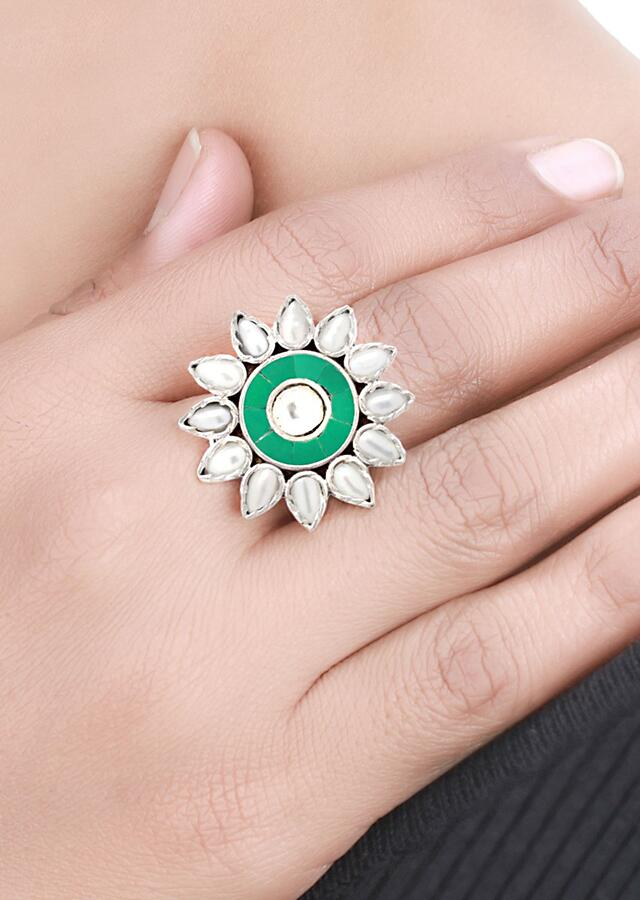 Silver Ring With Green Gemstones And White Beads In Floral Pattern Made In Sterling Silver By Sangeeta Boochra