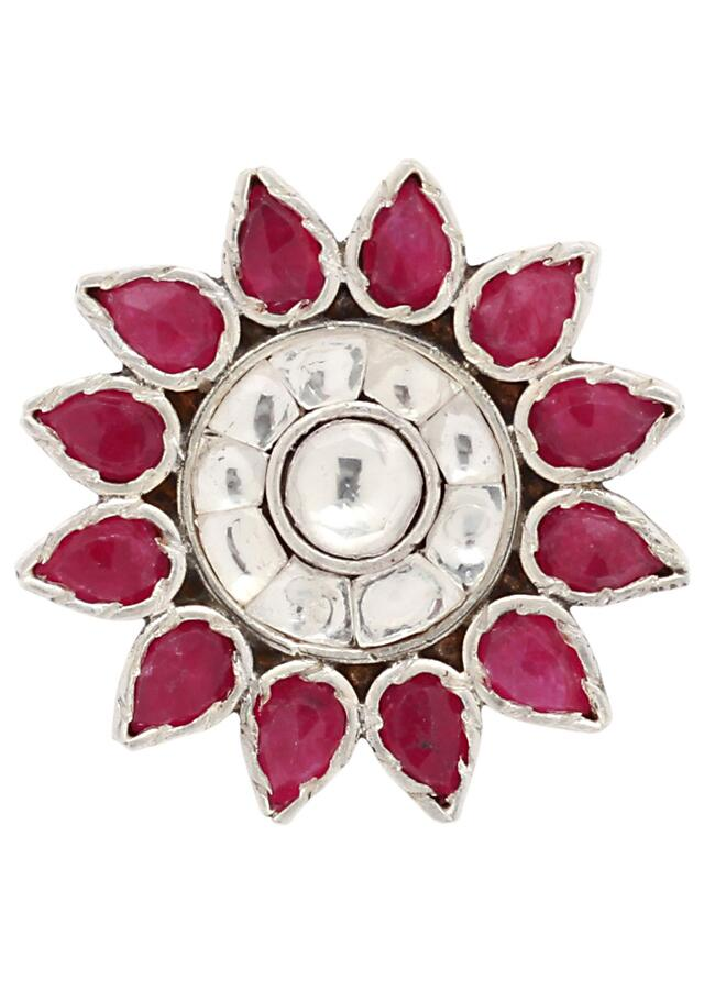 Silver Ring With Pink And White Gemstones In Floral Pattern Made In Sterling Silver By Sangeeta Boochra