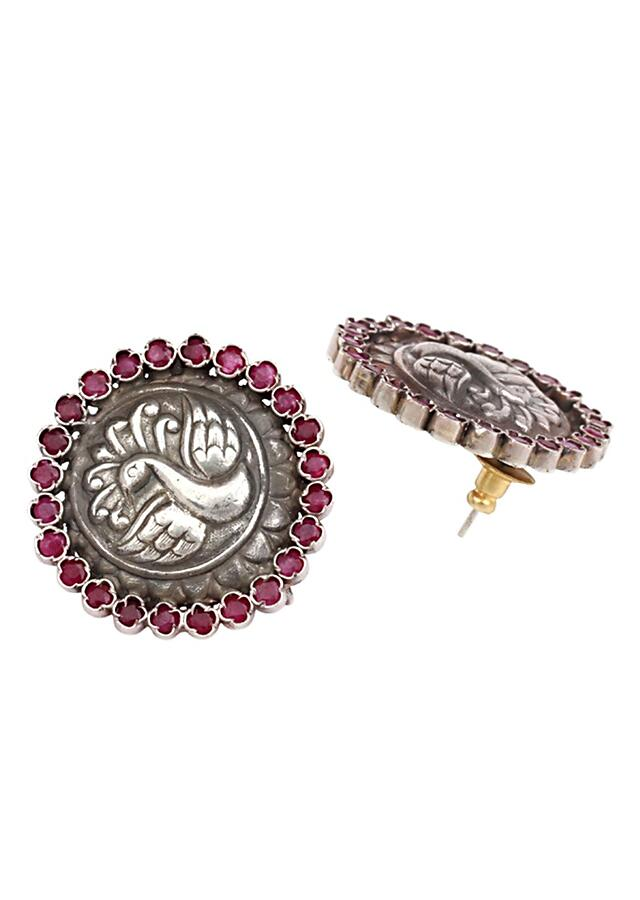 Silver Studs In Floral Shape With Carved Peacock Design And Pink Gemstones Made In Sterling Silver By Sangeeta Boochra