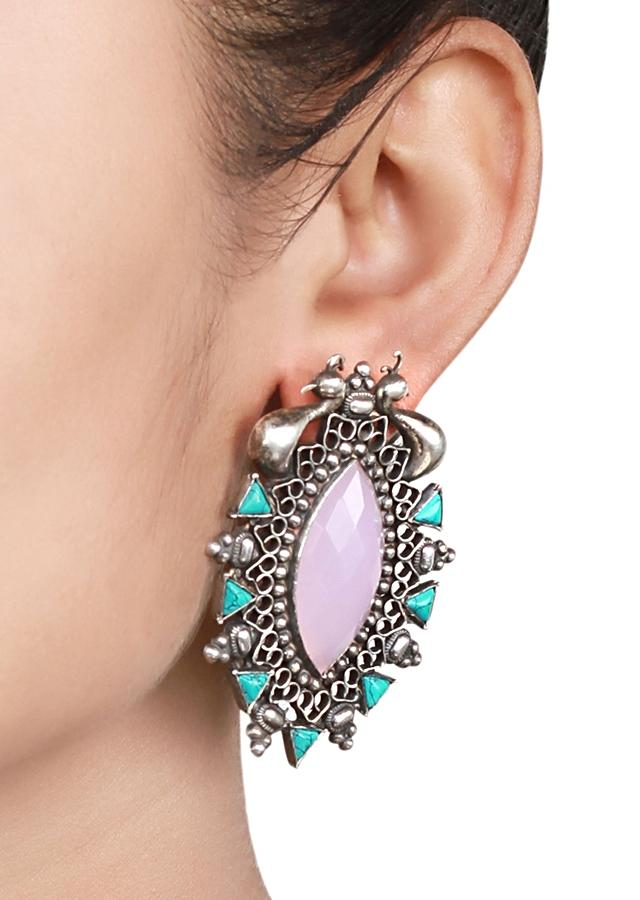 Silver Studs With Pink And Turquoise Gemstones And Carved Peacock Design Made In Sterling Silver By Sangeeta Boochra