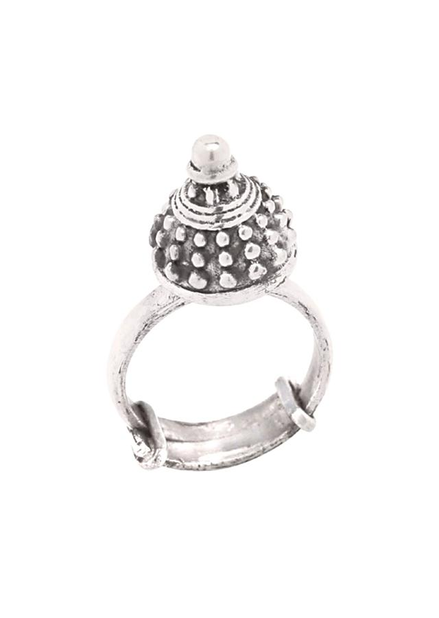 Silver Vintage Ring With Carved Design Made In Sterling Silver By Sangeeta Boochra