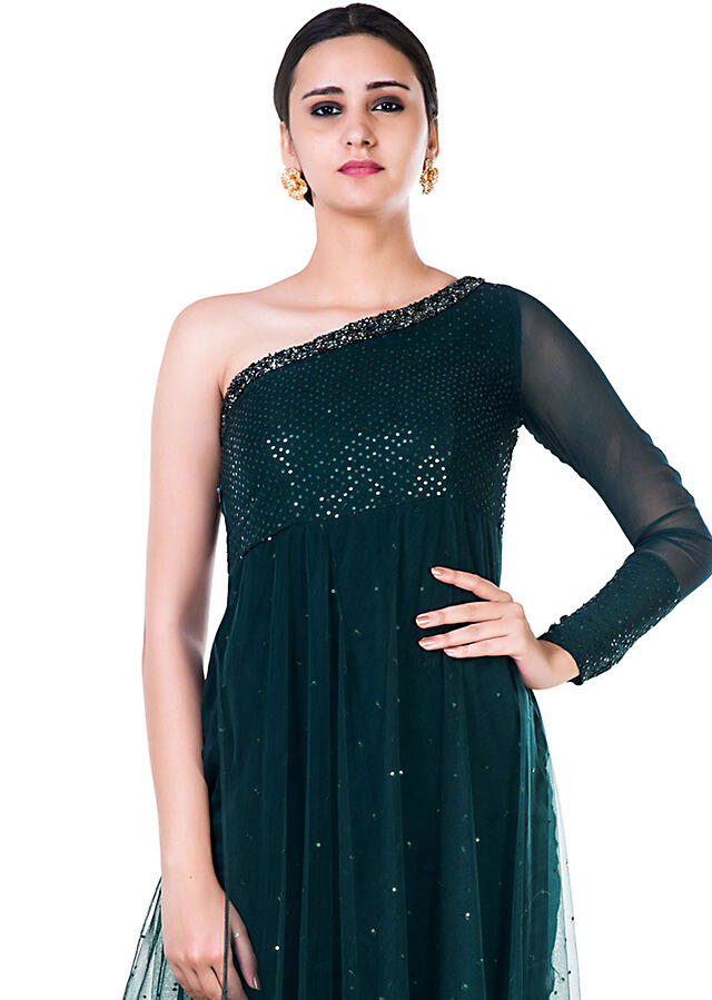 Bottle Green Sequin Layered Dress With Single Shoulder Neckline Online - Kalki Fashion