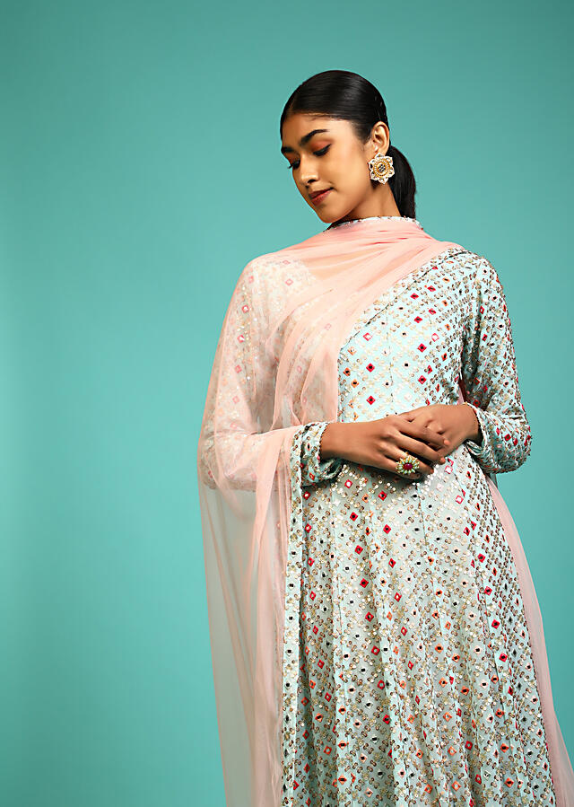 Sky Blue Anarkali Suit In Georgette With Full Sleeves And Multi Color Resham And Abla Work All Over Online - Kalki Fashion