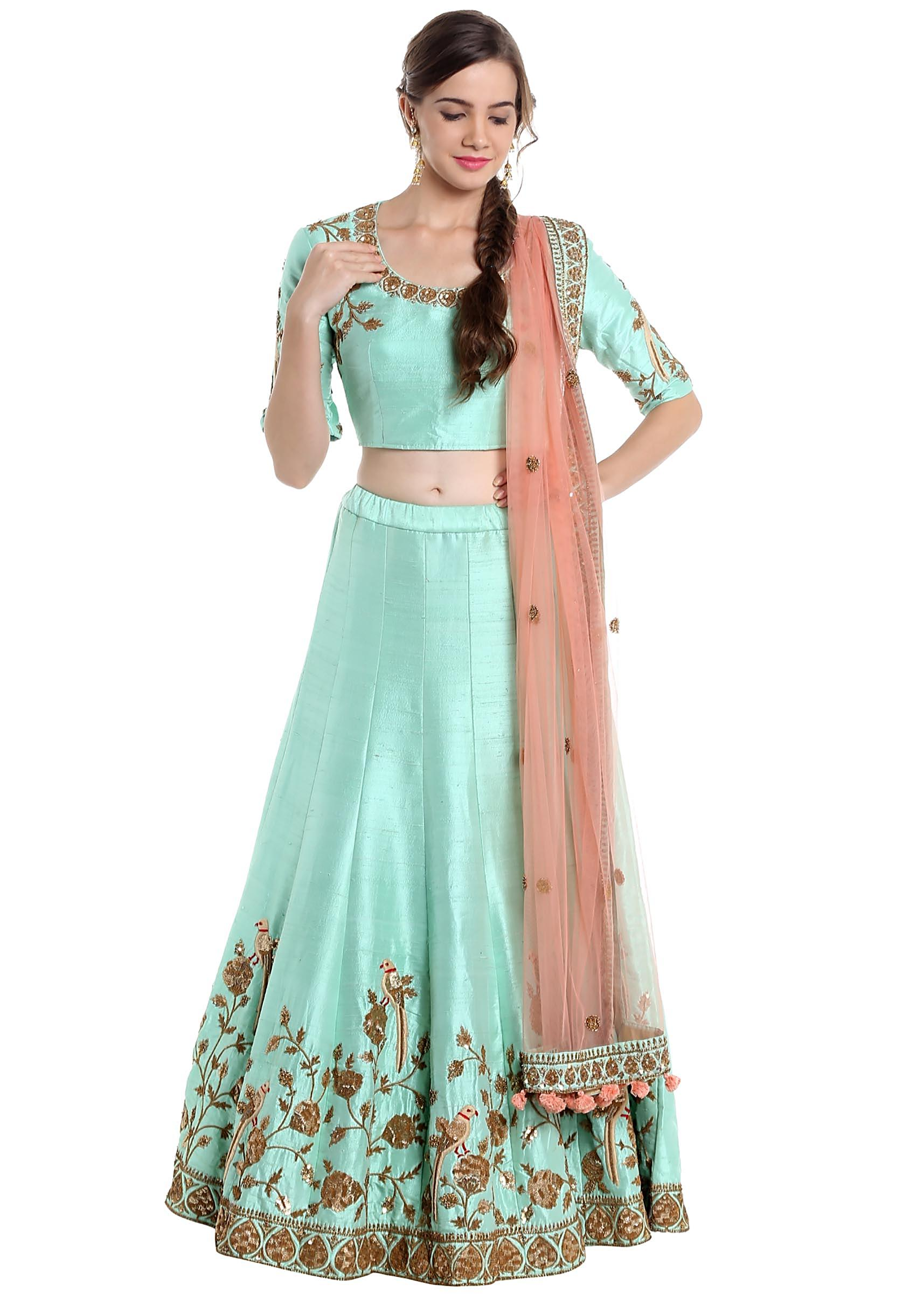 052f2ce504 Sky blue lehenga choli with pink dupatta in resham and zardosi only on  KalkiMore Detail