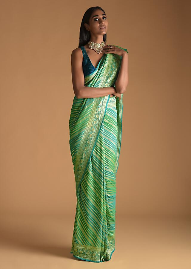 Sky Blue And Green Shaded Saree In Georgette With Woven Stripes And Floral Design On The Pallu Online - Kalki Fashion