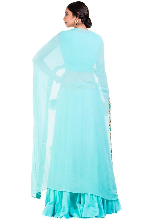 Sky Blue Cape Lehenga Set Online - Kalki Fashion