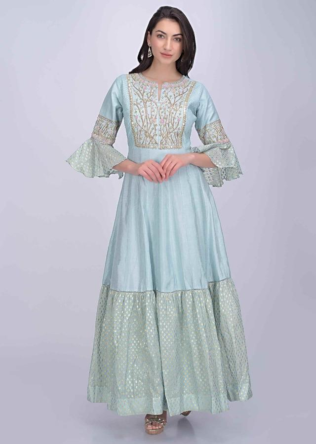 Sky Blue Anarkali Dress In Cotton Silk And Brocade Online - Kalki Fashion