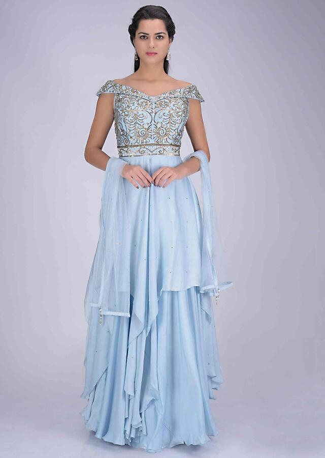 Sky blue crepe layered gown with off shoulder neckline with net dupatta only on Kalki