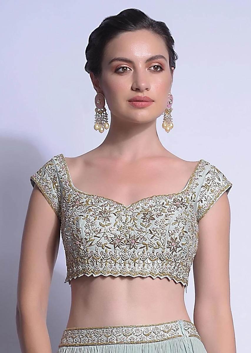 Sky Blue Crop Top With Zardosi And French Knots Embroidered Floral Jaal Online - Kalki Fashion