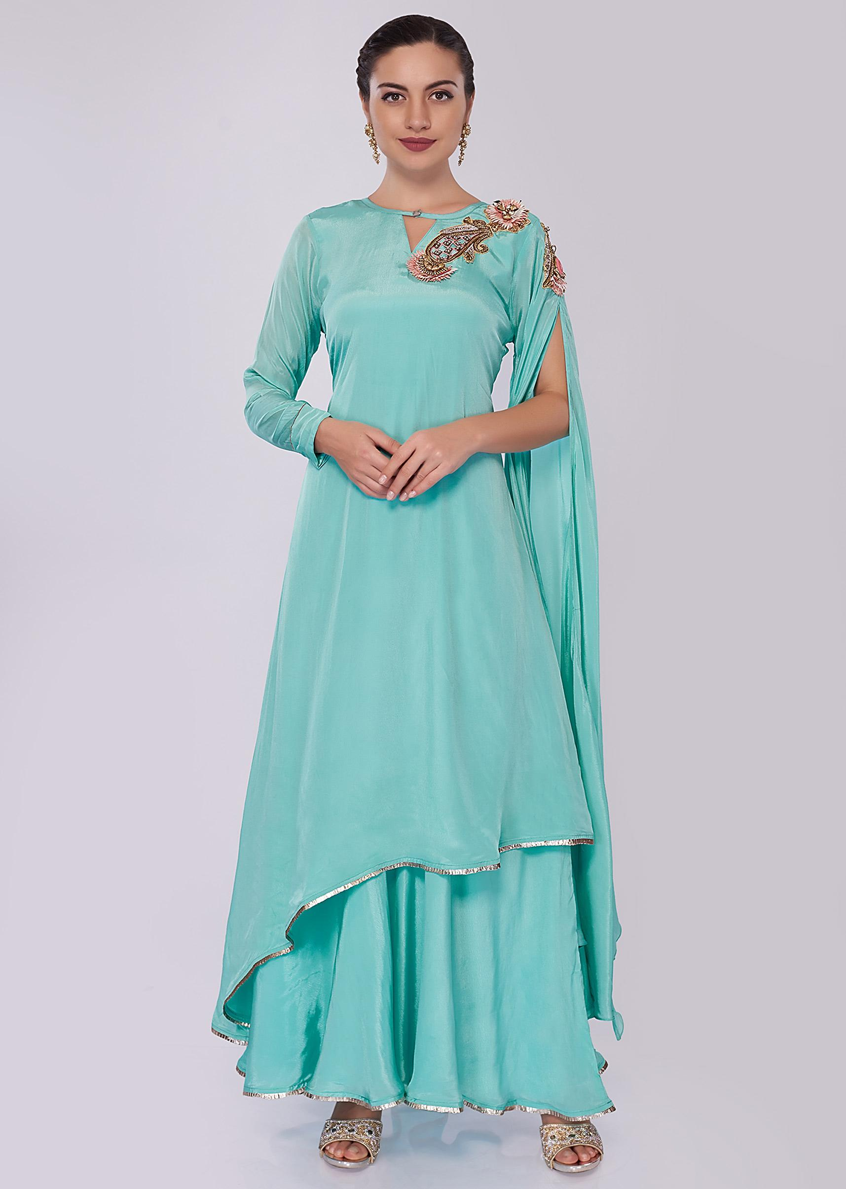 6f8fbb84e2 Sky blue double layer tunic dress featuring in satin crepe only on KalkiMore  Detail