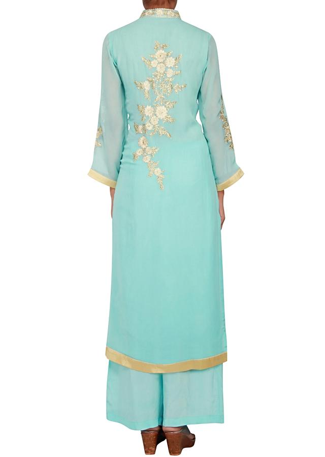 Sky blue georgette straight cut suit embellished in thread and zari only on Kalki