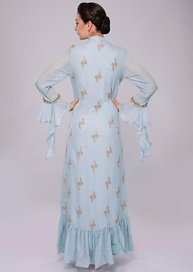 Sky Blue Tunic Dress In Georgette With Additional Stitched Top Layer With Floral Patch Work Online - Kalki Fashion