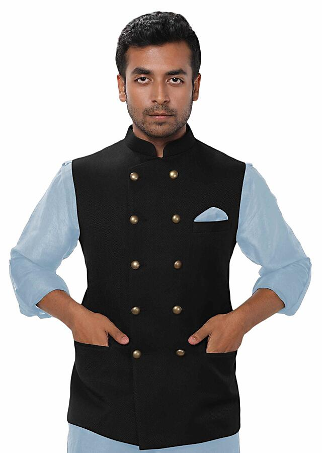 Sky Blue Kurta Set Paired With A Black Double Breasted Jacket Online - Kalki Fashion