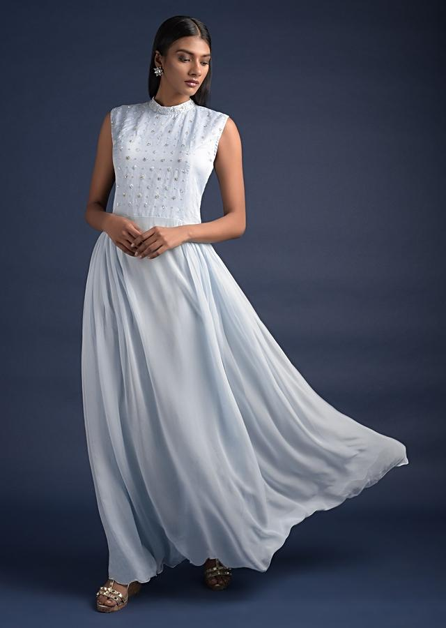 Sky Blue Long Dress With Floral Embroidery And Long Jacket With Bell Sleeves Online - Kalki Fashion