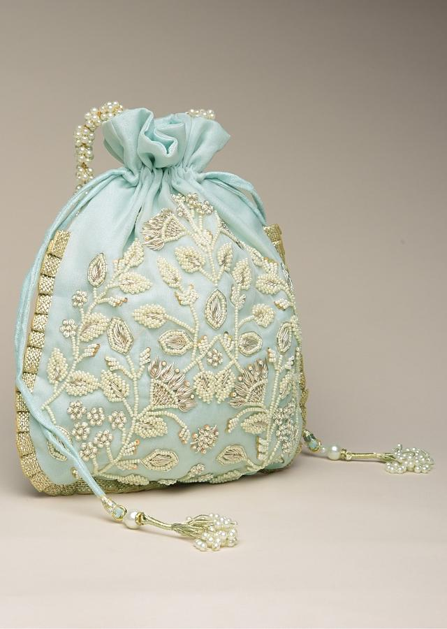 Sky Blue Potli Bag In Raw Silk With Moti Embroidery In Floral Design Online - Kalki Fashion
