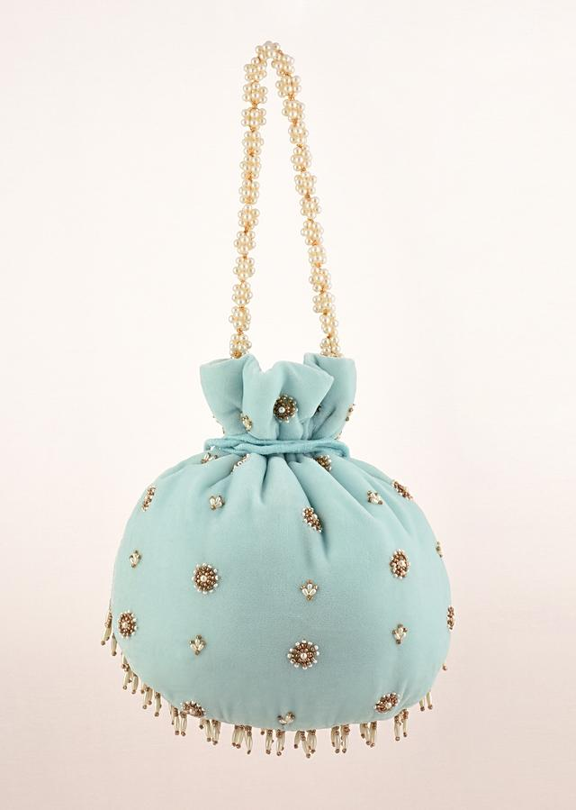 Sky Blue Potli In Velvet Heavily Embroidered With Beads And Moti Work In Scalloped And Tassel Design By Shubham