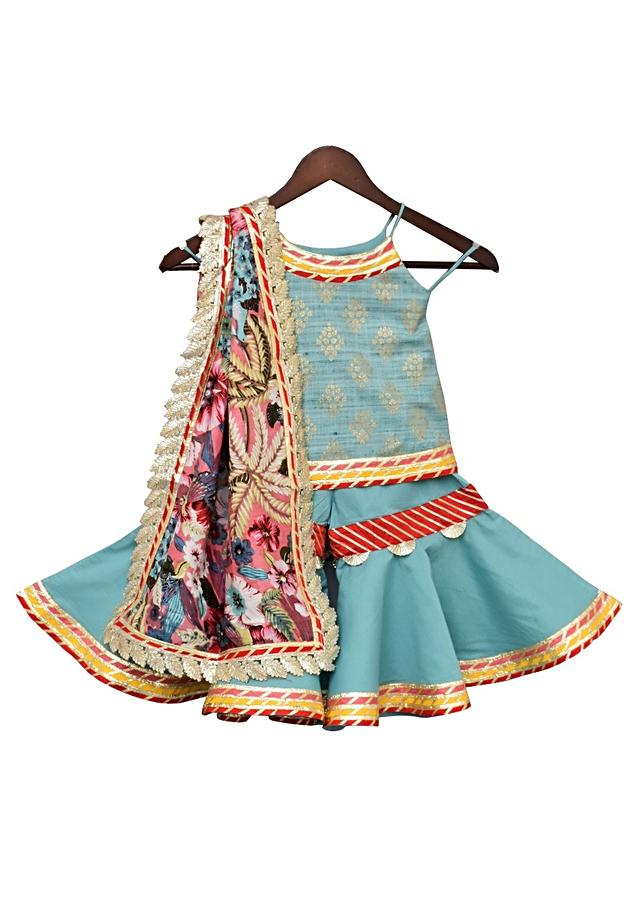 Sky Blue Kurti With Print Teamed With Sharara & Printed Dupatta by Fayon Kids