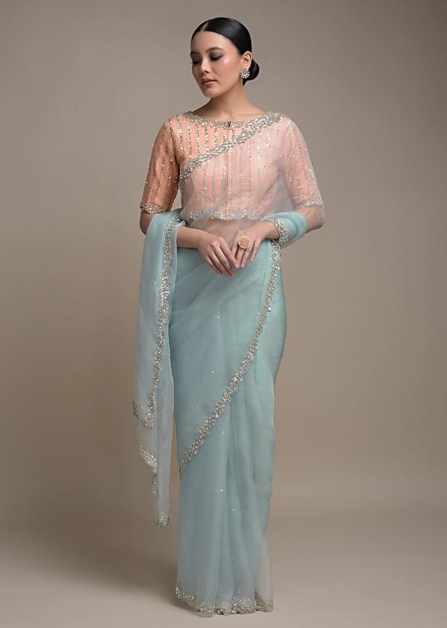 Sky Blue Saree In Organza Adorned With Embellished Floral Pattern On The Border Online - Kalki Fashion