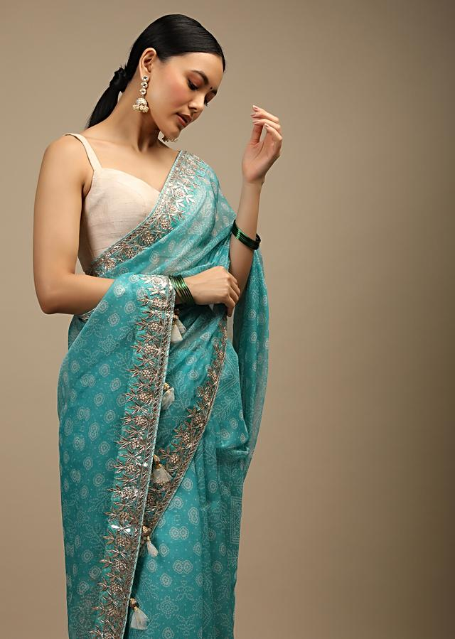 Sky Blue Saree In Organza With Bandhani Print In Floral And Geometric Motifs Along With Gotta Patti Accented Border Online - Kalki Fashion