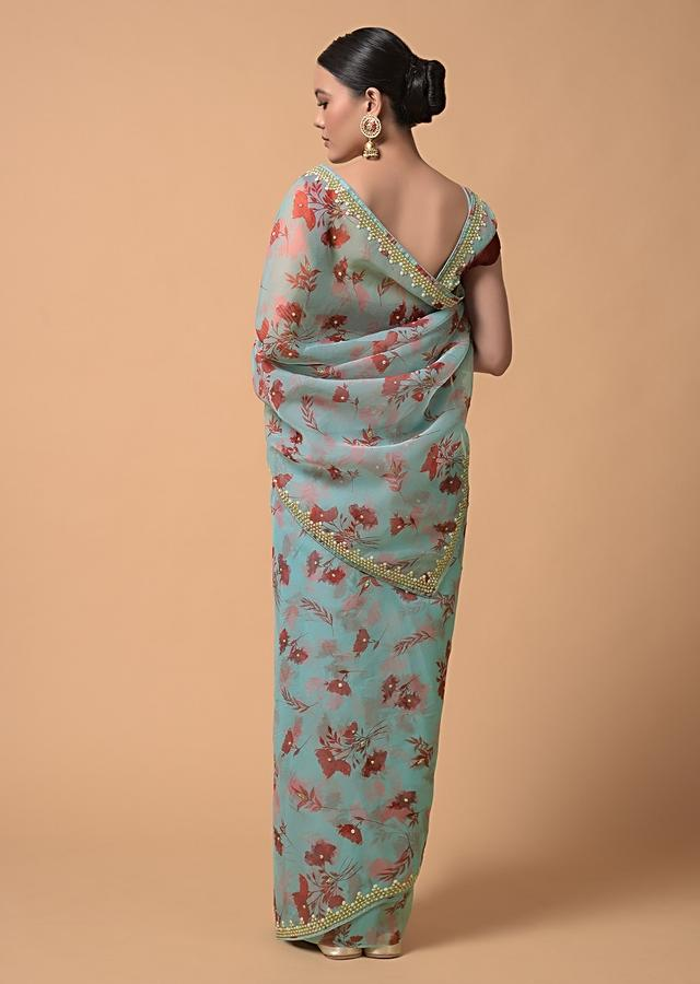 Sky Blue Saree In Organza With Floral Print And Moti Accents Online - Kalki Fashion