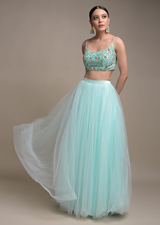 Sky Blue Skirt And Crop Top With Floral Embroidery And Pleated Frill Dupatta Online - Kalki Fashion