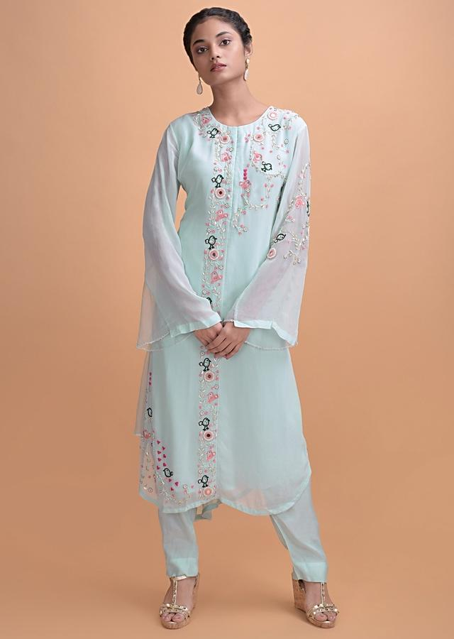 Sky Blue Suit In Georgette Embroidered With Nature Inspired Motifs Online - Kalki Fashion