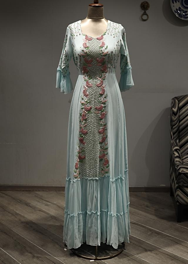 Sky Blue Indowestern Dress With Embroidered Centre Panel And Bell Sleeves Online - Kalki Fashion