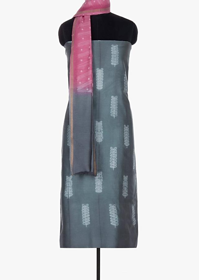 Slate grey cotton silk unstitched suit with printed butti  only on Kalki