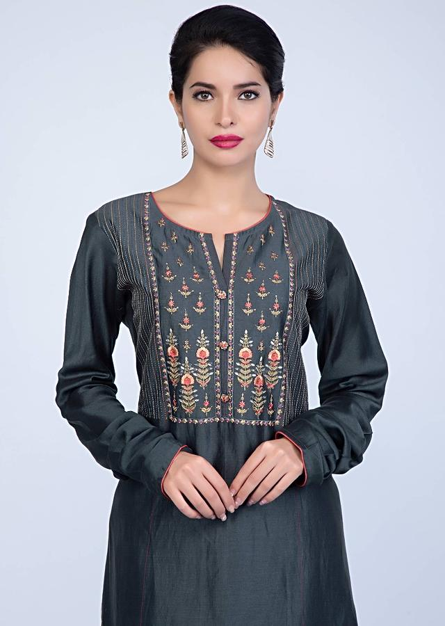 Slate Grey Suit With Embroidery Work Teamed With Matching Pant And Contrasting Red Dupatta Online - Kalki Fashion