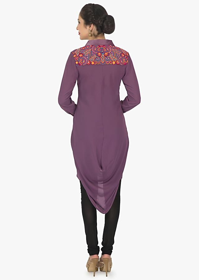 Mauve Purple Kurti In Georgette With Fancy Drape And Resham Work Online - Kalki Fashion