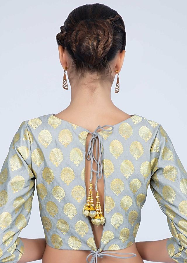 Slate Grey Blouse In Silk With Weaved Butti And Round Neckline Online - Kalki Fashion