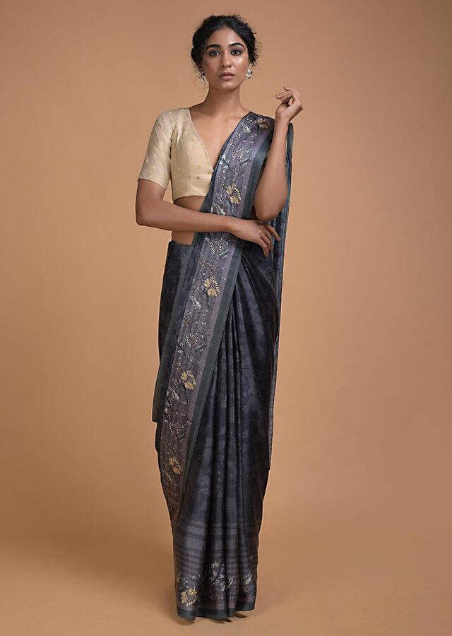 Slate Grey Saree In Satin Blend With Self Jaal Print Online - Kalki Fashion