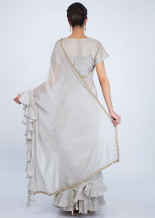 Slate Grey Saree In Satin Crepe With Ruffles On The Hem And Pallo Online - Kalki Fashion