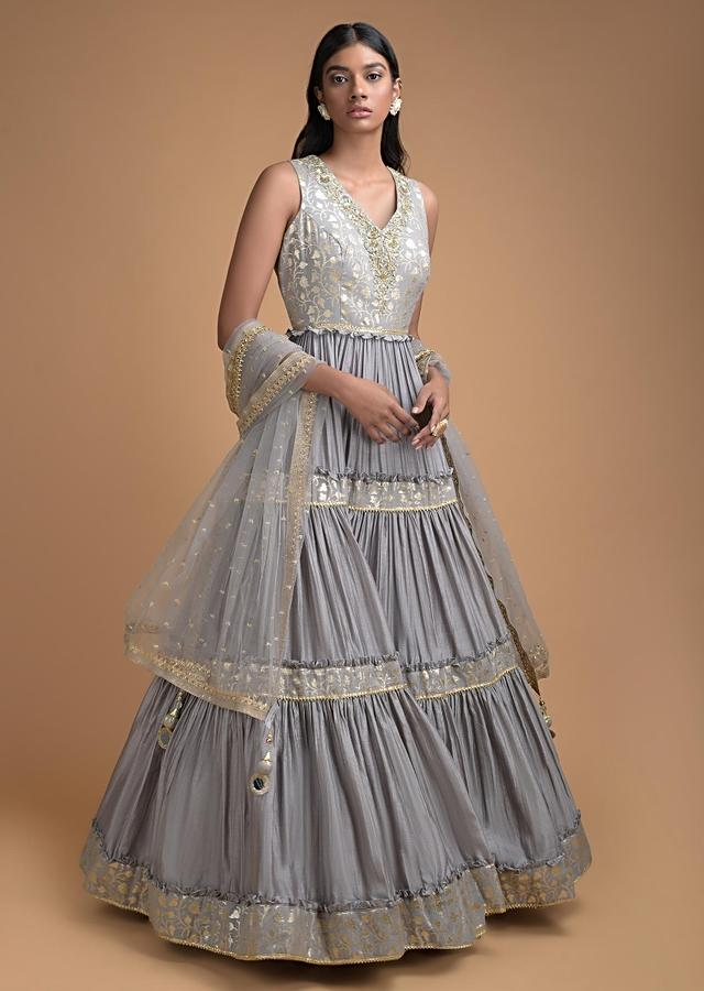 Smoke Grey Anarkali Suit With Brocade Jaal And Tiered Design Online - Kalki Fashion