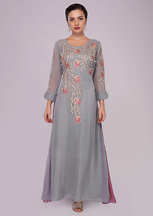 Smoke Grey And Pink Flared Kurti With Resham And Floral Embroidery Online - Kalki Fashion