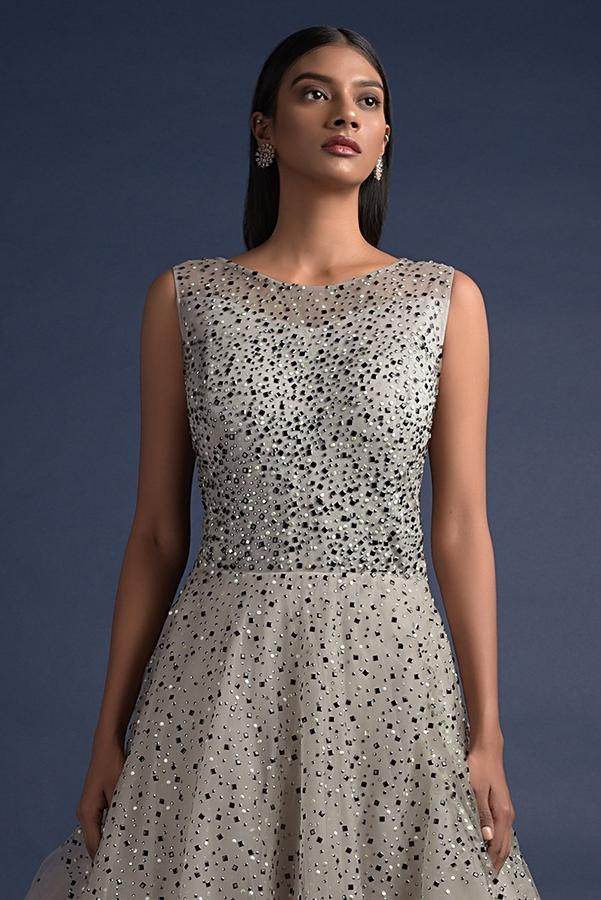 Smoke Grey Ball Gown In Net With Kundan Work In Different Shapes Online - Kalki Fashion