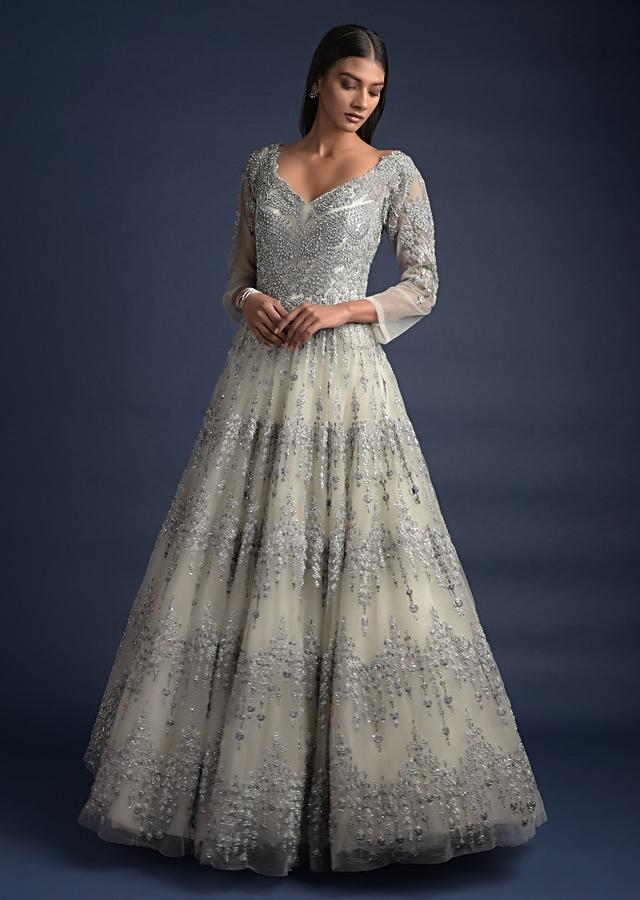 Smoke Grey Ball Gown With Embroidered Floral And Zig Zag Pattern Online - Kalki Fashion