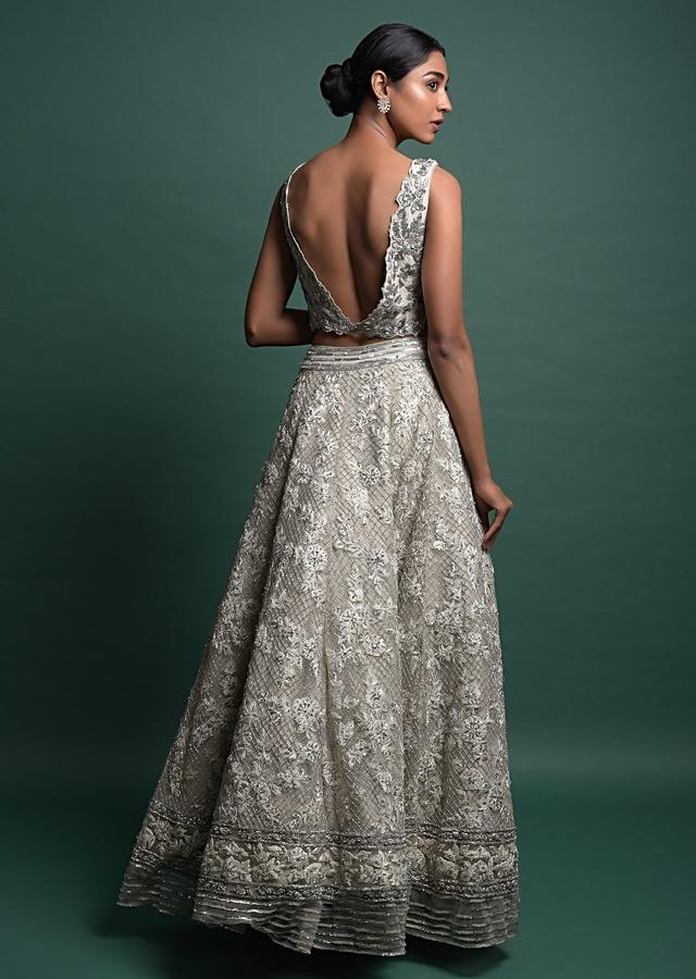 Smoke Grey Lehenga In Heavily Embroidered Net Along With Ruffle Dupatta Online - Kalki Fashion
