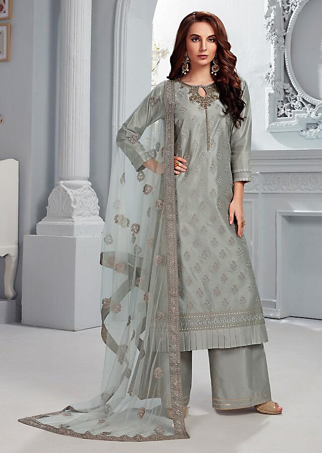 Smoke Grey Palazzo Suit In Cotton Silk With Self Thread Embroidered Floral Buttis And Gotta Work Online - Kalki Fashion