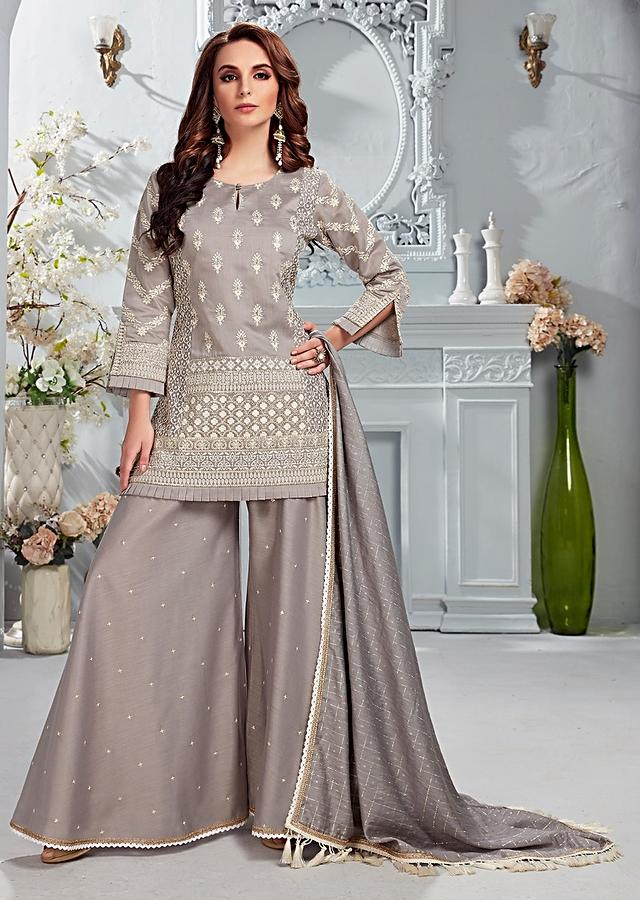 Smoke Grey Palazzo Suit In Cotton Silk With Thread And Sequins Embroidered Floral Buttis Online - Kalki Fashion