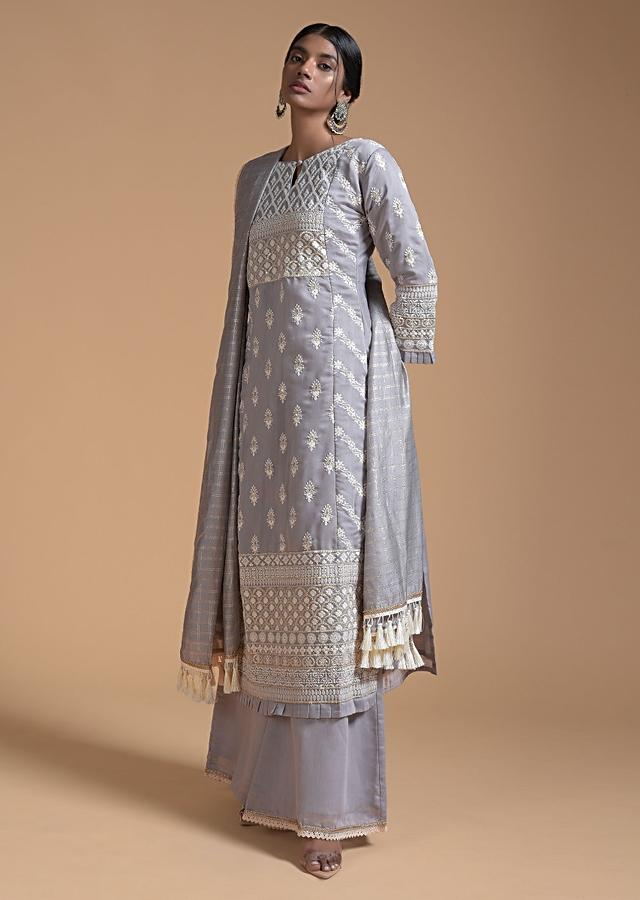 Smoke Grey Palazzo Suit In Cotton With Thread Embroidered Floral Buttis And Scalloped Motifs Online - Kalki Fashion
