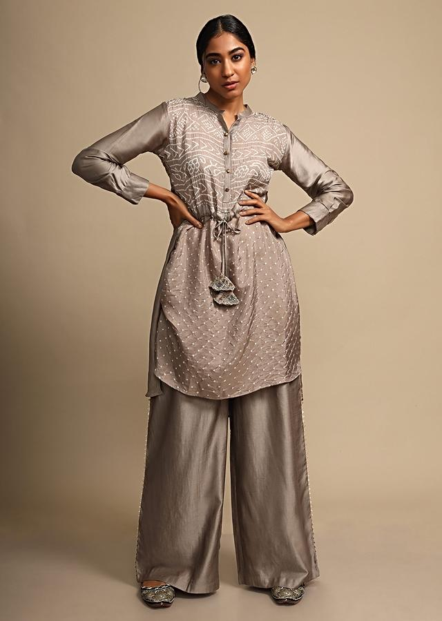 Smoke Grey Palazzo Suit With Real Bandhani Kurta Online - Kalki Fashion