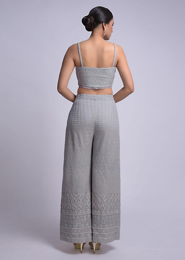 Smoke Grey Palazzo, Crop Top And Jacket With Lucknowi And Abla Work Online - Kalki Fashion
