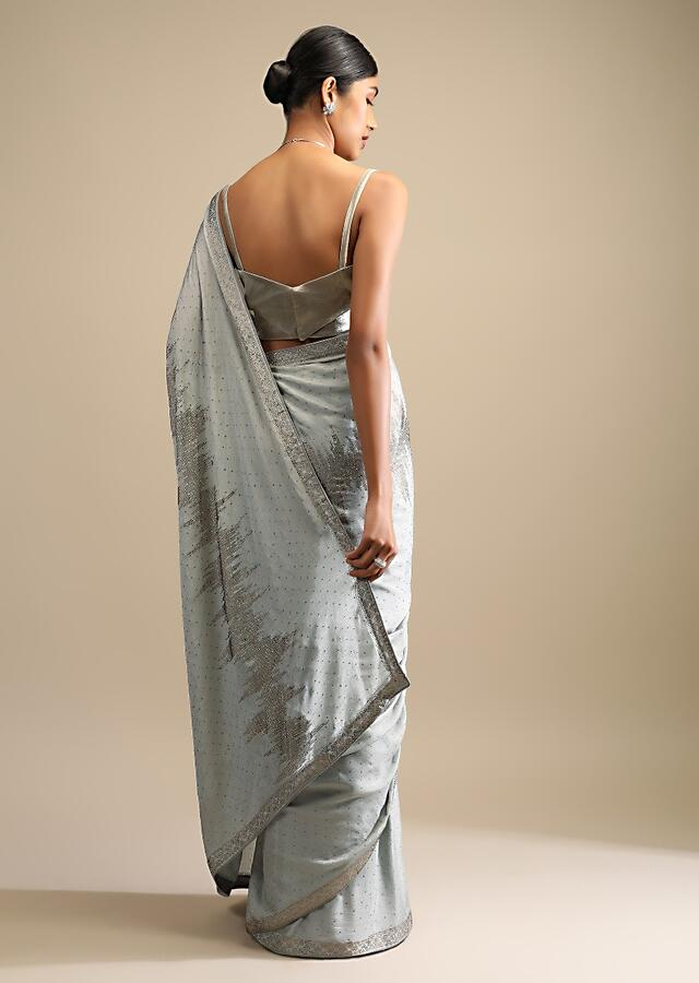Smoke Grey Saree In Chiffon With Scattered Golden Kundan Work And Abstract Striped Design Online - Kalki Fashion