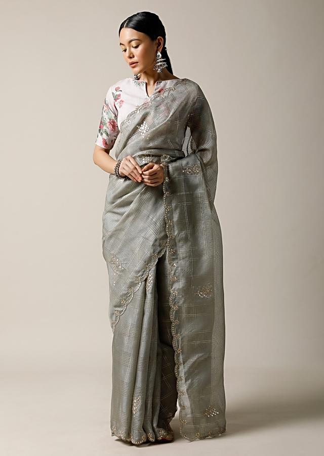 Smoke Grey Saree In Kota Silk With Gotta Patti Embroidered Buttis And Border Along With Printed Unstitched Blouse Online - Kalki Fashion