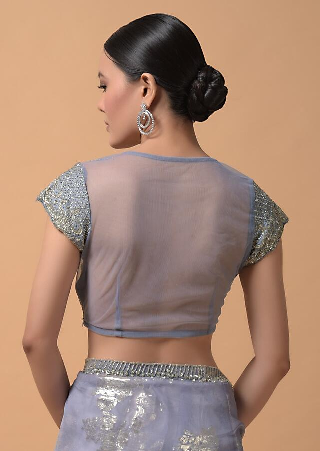 Smoke Purple Saree In Organza With Foil Woven Floral Buttis And A Cut Dana Embellished Blouse Online - Kalki Fashion