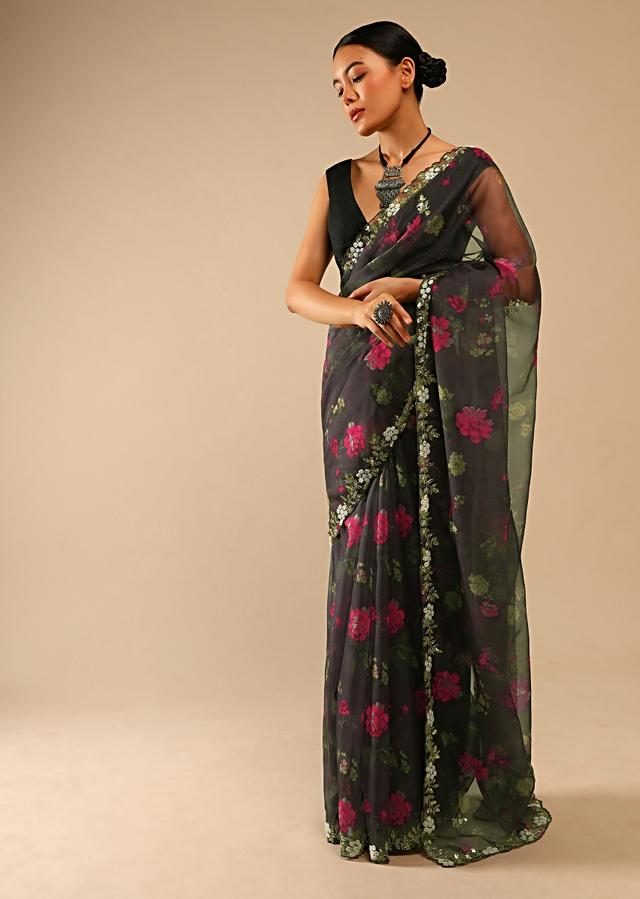 Smoke Grey Saree In Organza With Floral Print And Hand Embroidered Moti Work On The Border Online - Kalki Fashion