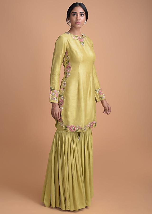Chartreuse Green Cotton Silk Sharara Suit With An Embroidered Belt  Online - Kalki Fashion