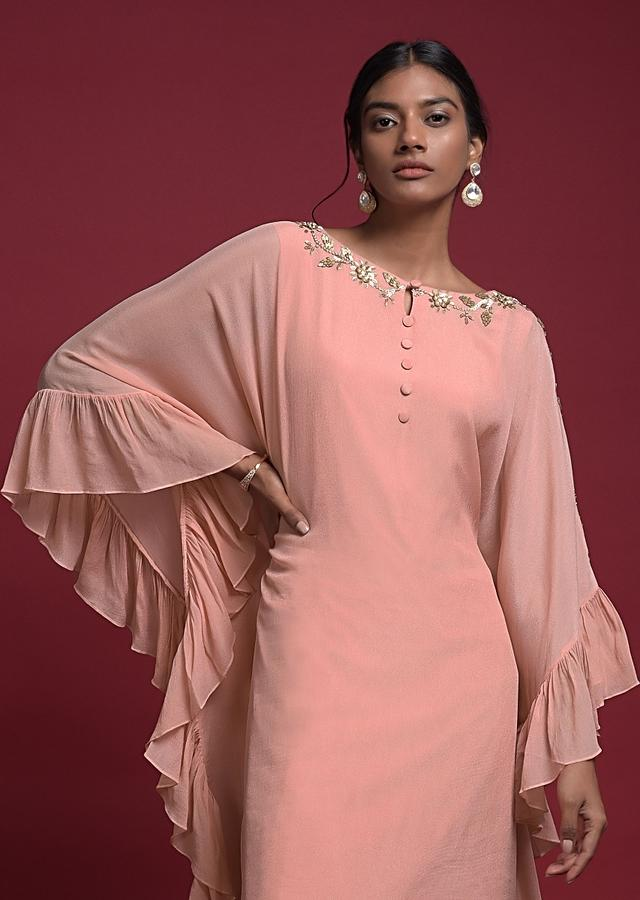Soap Peach Kaftan Dhoti Suit In Crepe With Ruffle Border Online - Kalki Fashion