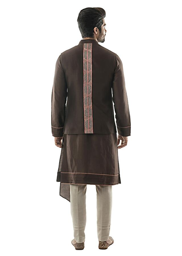 Soil Brown Bandi In Linen Satin With Linear Embroidery In Pastel Silk Threads Paired With Soil Brown Kurta Set Online - Kalki Fashion